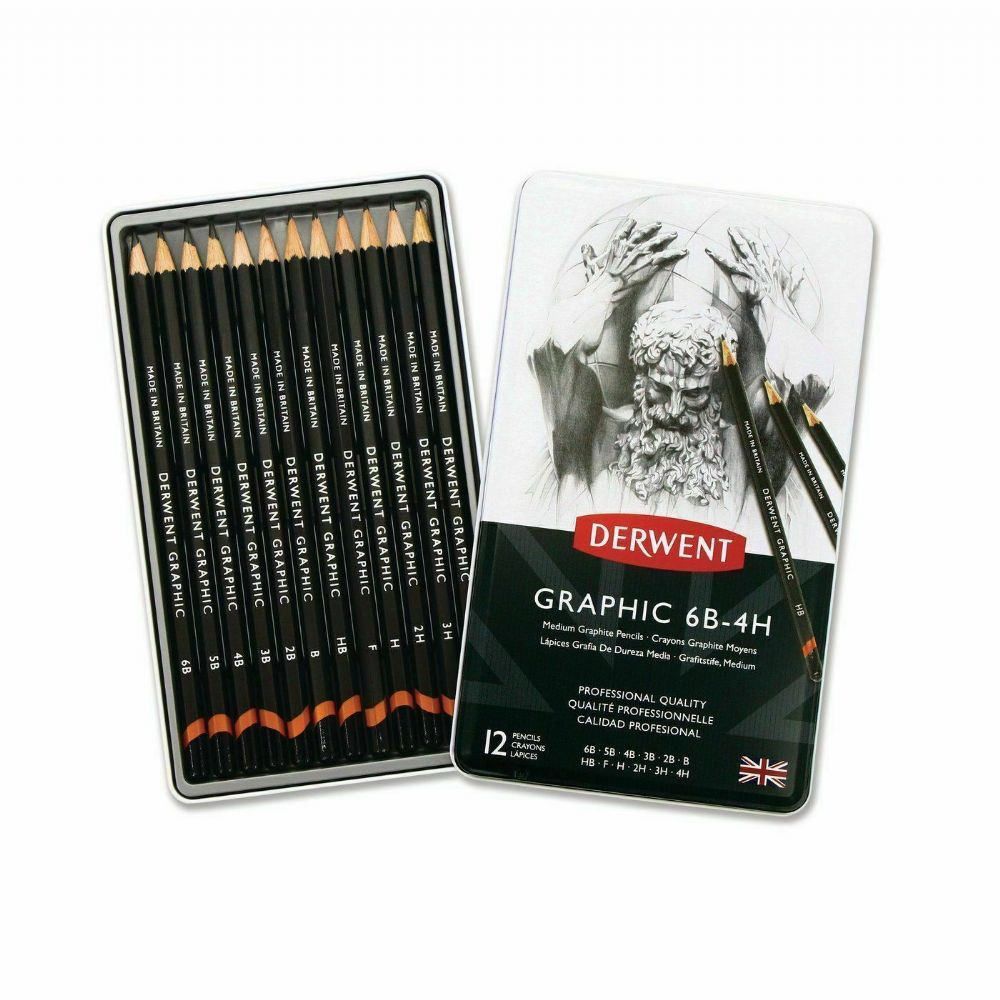 DERWENT GRAPHIC PENCILS TIN OF 12 SEALED SIZES 9B THROUGH TO H